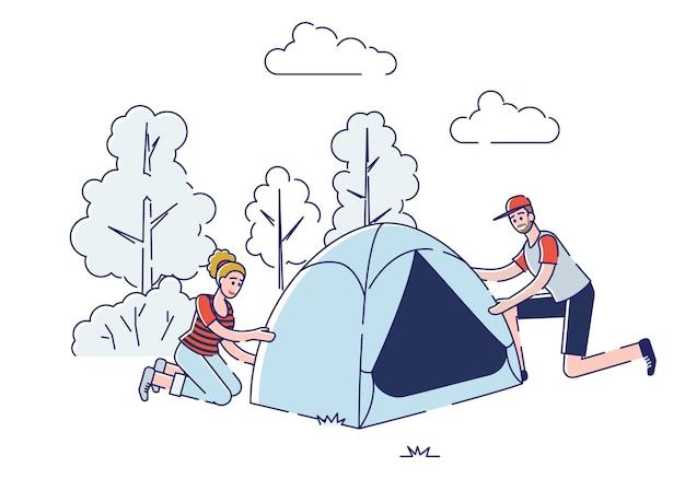 하이킹, 캠핑, 여름 풍경의 개념.