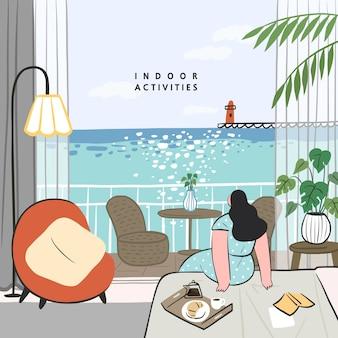 집에서 할 수있는 취미 아이디어의 개념. 침대에서 아침 식사, 아늑한 호텔 객실