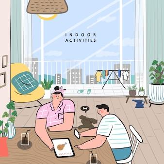 집에서 할 수있는 취미 아이디어의 개념. 온라인 쇼핑의 개념입니다. 음식 주문 신청