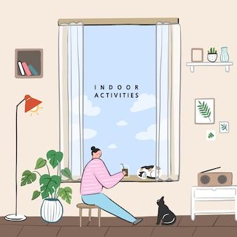 집에서 할 수있는 취미 아이디어의 개념. 창가에서 커피 나 차를 즐기십시오.