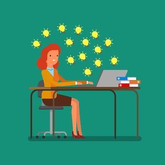 アイデアの概念。インターネットでアイデアを探しているビジネスウーマン。フラットなデザイン、ベクトルイラスト。