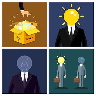 アイデアの概念。手はアイデアのシンボルを維持します-アイデアボックスからの電球。彼の頭の代わりに電球を持つビジネスマン。フラットなデザイン、ベクトル図