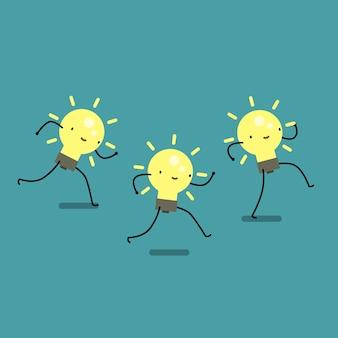 아이디어의 개념입니다. 세 개의 만화 예쁜 전구가 실행됩니다. 평면 디자인, 벡터 일러스트 레이 션입니다.