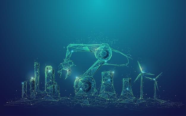 산업 4.0 기술의 개념, 산업 요소가있는 다각형 로봇 팔의 그래픽