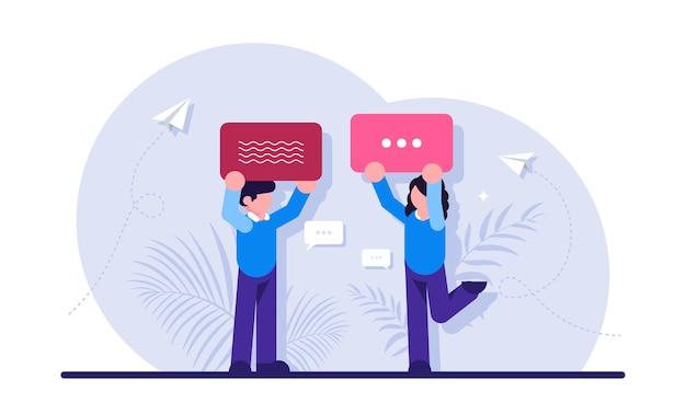 인터넷 통신, 인스턴트 메시징, 채팅, 소셜 네트워크에서 온라인 대화의 개념. 연설 거품을 들고 사람들.
