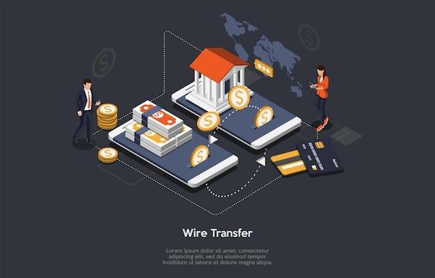等尺性電信送金の概念。巨大なスマートフォンの小さなキャラクター。人々は商品やサービスの電信送金で支払いをしています。顧客はオンラインモバイルアプリを支払っています。