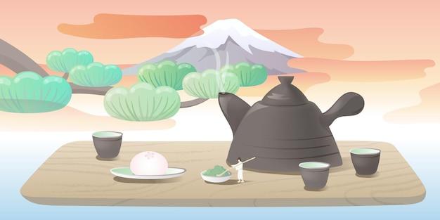 Концепция чая японии. крошечные люди работают над большим чайником. гора фудзи на закате. векторные иллюстрации.