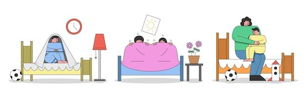 子供の悪い夢と悪夢の概念。子供たちは悪夢から目を覚まし、毛布の下に座ります。母は悪い夢のために少年を落ち着かせています。漫画の線形アウトラインフラットスタイル。ベクトルイラスト