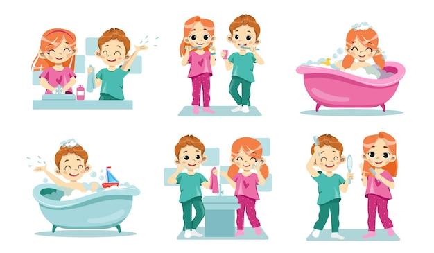 어린이 치과 건강 및 개인 위생의 개념.