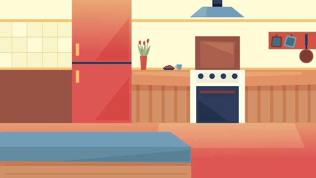 Концепция интерьеров кухни, кулинарное шоу. современный интерьер кухни с холодильником, вытяжкой, столом с ингредиентами для готовки, плитой. пустой интерьер с мебелью. мультфильм плоский векторные иллюстрации.