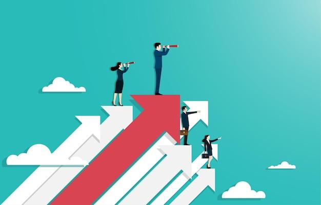 리더십과 경력의 개념입니다. 사업가들은 성공을 바라보는 쌍안경을 사용하여 위쪽 화살표에 서 있습니다. 직장에서 비즈니스의 목표를 달성하는 것처럼 상징. 벡터 일러스트 레이 션 플랫입니다.
