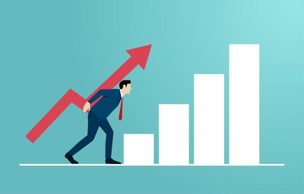 리더십과 경력의 개념입니다. 만화 캐릭터 사업가는 성공의 상징을 위해 화살표로 사다리를 오르는 것입니다. 직장에서 비즈니스의 목표를 달성하십시오. 벡터 일러스트 레이 션 플랫입니다.