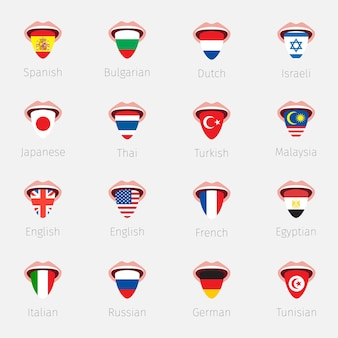 언어 학습 또는 여행의 개념입니다. 깃발처럼 그려진 혀가 매달려 있는 입을 벌리고 있습니다. 평면 디자인, 벡터 일러스트 레이 션