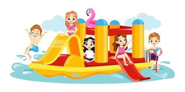 アクアパークのレジャーの概念。陽気な子供たちが水の遊び場で一緒に遊んでいます。子供たちはウォーターパークダイビングとスプラッシュで遊んで楽しんでいます。漫画フラットスタイル。