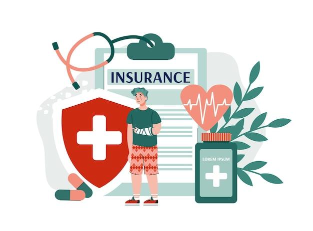 생명과 건강 보험의 개념. 부상 또는 사고 발생시 재정적 보상. 의료 및 의료 서비스. 평면 절연.