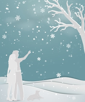 Concept of love in winter season