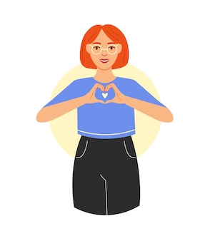 사랑 지원 케어 소녀의 개념 제스처 평면 벡터 일러스트와 함께 사랑의 감정을 보여줍니다
