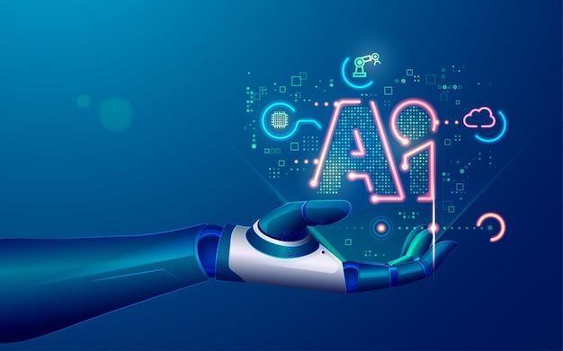 기계 학습 또는 인공 지능 기술의 개념, 기호 ai 및 미래 요소가 있는 로봇 손의 그래픽