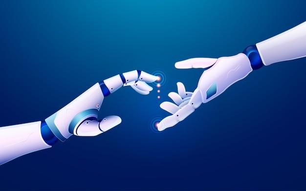 Концепция машинного обучения или инновационных технологий, рисунок руки робота, тянущейся друг к другу