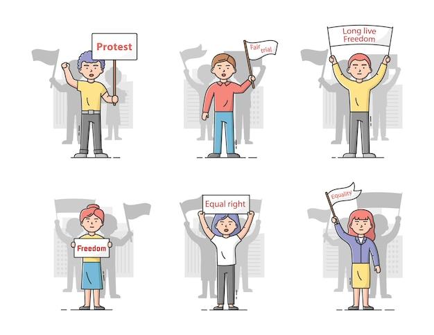 集団抗議行動の概念。不平を言ってストライキに参加している抗議バナーを持つ不満の人々のセット。キャラクターは自分の権利を守ります。