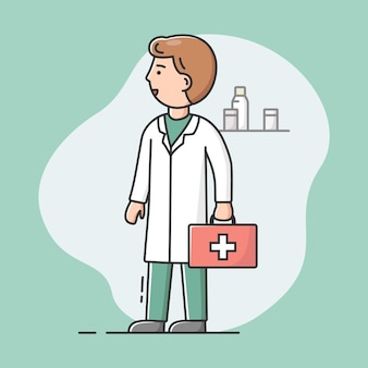 의료진 일러스트의 개념