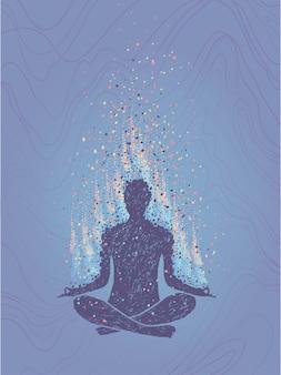 瞑想、悟りの概念。蓮のポーズで座っている人間。垂直の手描きのカラフルなイラスト。