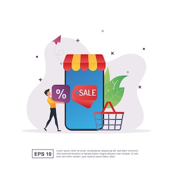 다양한 매력적인 상품을 제공하는 모바일 마케팅의 개념입니다.