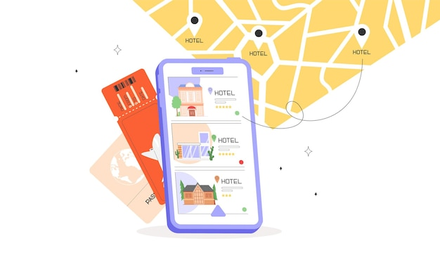 Концепция мобильного поиска или бронирования отеля на экране телефона