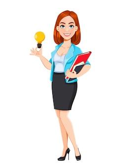 現代のビジネスウーマンのコンセプト。良いアイデアを持っている赤毛の漫画のキャラクターの実業家。白い背景の上のベクトル図