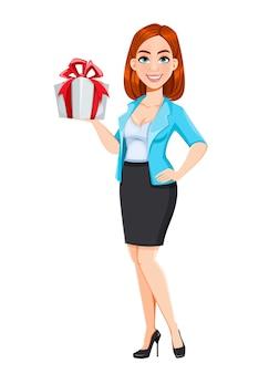 Концепция современной деловой женщины. рыжая коммерсантка персонажа из мультфильма держа подарочную коробку. векторная иллюстрация на белом фоне
