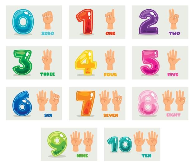 マルチカラーの数字の概念