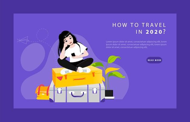 Концепция размышлений о путешествиях. целевая страница веб-сайта. грустная, озадаченная и расстроенная безнадежностью девушка сидит на багаже и находит пути к путешествию. веб-страница мультяшныйа плоский стиль. векторные иллюстрации.