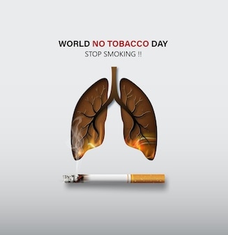 Концепция не курить и всемирный день без табака карта с легкими и сигаретой в стиле бумажного коллажа с цифровым ремеслом.