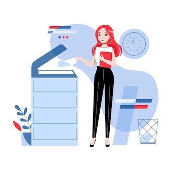 事務の概念。若いかわいい女の子は、オフィスでドキュメントのコピーとスキャン、ファックスの送信を行っています。実業家はコピー機を使用しています