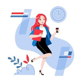 사무의 개념입니다. 젊은 예쁜 여자 회사원 휴식이 있습니다. 여자 캐릭터는 사무실에서 커피 또는 차를 마시고있다. 직장에서 커피 브레이크