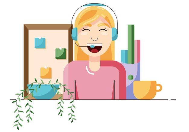 고객과 이야기하는 온라인 지원 콜 센터 또는 온라인 지원 여성 고객의 개념