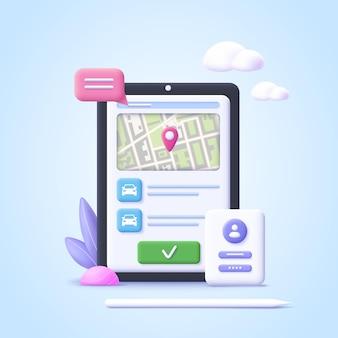 タクシーのレンタカーを注文するオンラインカーシェアリングサービスの概念3d現実的なベクトル図