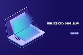 Concept of online education. Laptop with opened book.