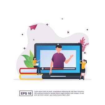수업을 가르치는 화면의 사람과 온라인 교육의 개념