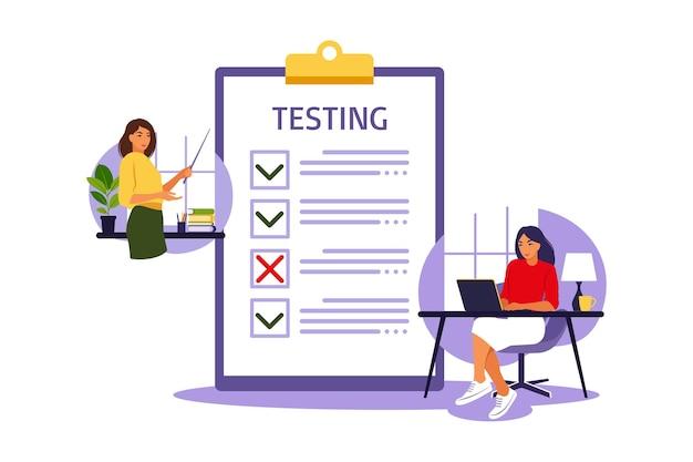 Концепция онлайн-экзамена в интернете. женщина сидит рядом с онлайн-опросом