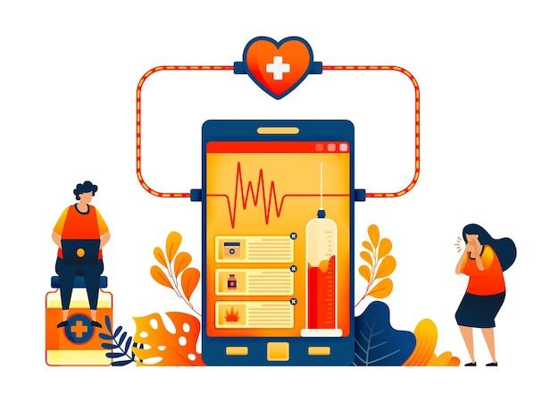 온라인 건강 검진 기술의 개념 환자 리뷰가 포함 된 의약품 판매