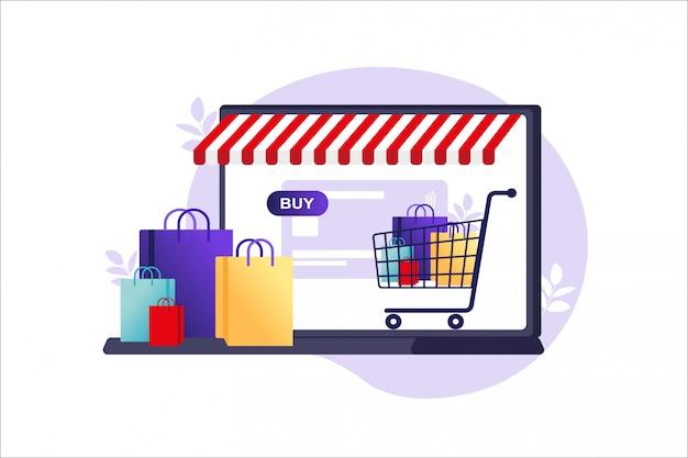 Концепция интернет-магазинов, интернет-магазин оплаты. банковские кредитные карты, безопасные онлайн-платежи и финансовые счета. цифровые платежные технологии. иллюстрация в квартире.