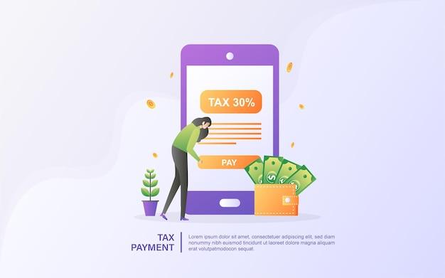 온라인 세금의 개념. 세금 양식 작성. 비즈니스 개념.
