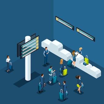 空港でのパスポートコントロール、荷物室への物資の配達、ビジネスレディース、出張のビジネスマンの概念