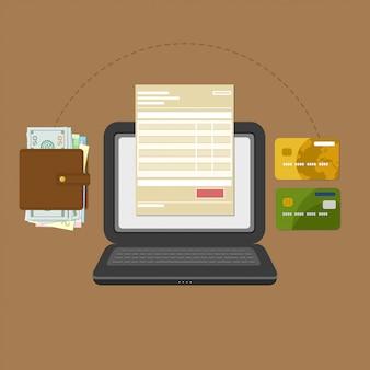 Концепция счета оплаты налога онлайн через компьютер или ноутбук.