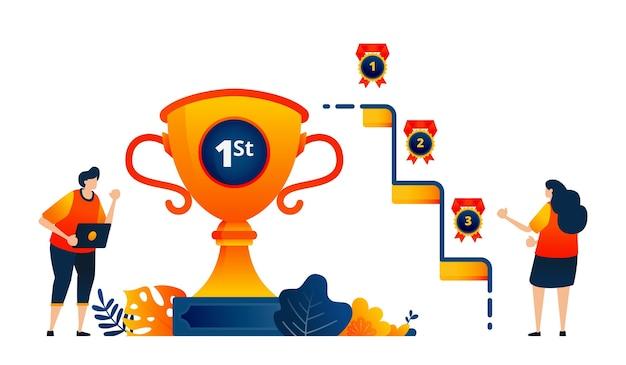 人々のコンセプトが1位2位3位でトロフィーメダルを獲得勝利を祝う