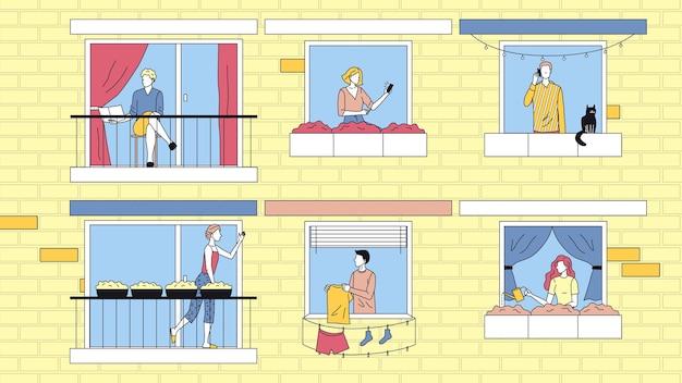 Концепция досуга людей дома. персонажи проводят время дома в квартирах. соседи между собой общаются, занимаются своими делами. мультфильм линейный контур плоский стиль. векторные иллюстрации.