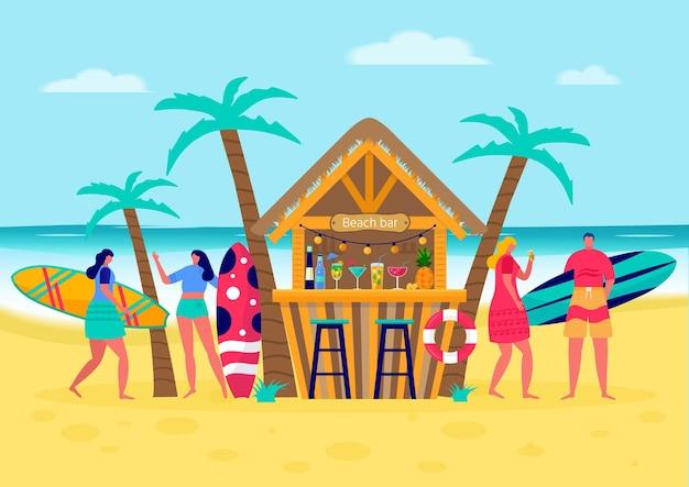 서핑 보드로 서핑하는 사람들의 개념입니다. 바다, 바다, 해변 바에서 휴가를 즐기는 젊은 여성과 남성. 여름 스포츠와 레저 야외 활동, 걷기의 개념. 평면 벡터