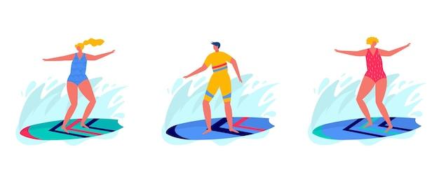 서핑 보드로 서핑하는 사람들의 개념입니다.