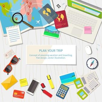 休暇と旅行の計画の概念。上面図。あなたのビジネス、ウェブサイトなどのカラフルな旅行フラットバナー。